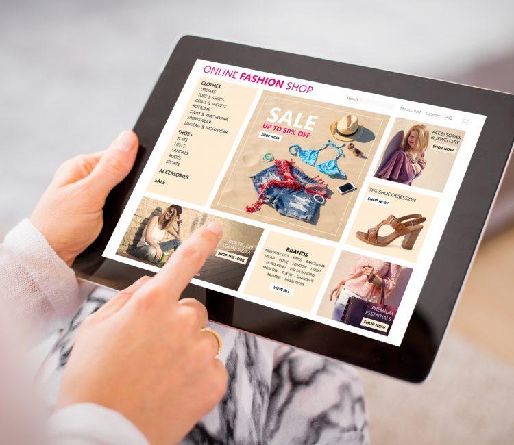 Online fashion shop on tablet